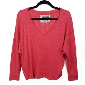Anthropologie Waffle Knit V-Neck Thermal Sweater
